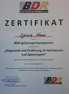 Radanpassung - Zertifizierung BDR 2016